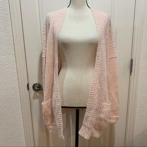 FP Free People Pink Knit Long Cardigan Sweater New